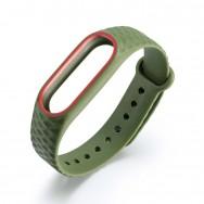 Браслет для Mi Band 2 ROMB зеленый с красным кантом