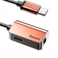 Переходник Baseus USB Type-C - USB Type-C/jack 3.5mm (L40) 0.12м - золотой