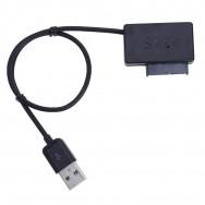 Адаптер-переходник USB 2.0 - SATA 6+7 pin для CD-ROM черный