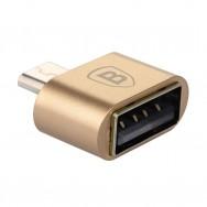 Адаптер, переходник USB 2.0 - microUSB золотистого цвета, OTG BASEUS