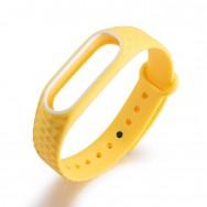 Браслет для Mi Band 2 ROMB желтый c белым кантом