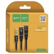 Разветвитель AUX (3.5mm) на наушники и микрофон длинной 37см черный Dream JD459