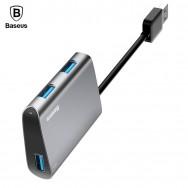 Хаб USB 3.0, HUB на три USB 3.0 графитового цвета BASEUS