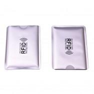 Чехол защитный для карты с RFID блокировкой, серебристый с RFID лого