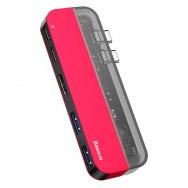 USB-концентратор Baseus Transparent Series Dual Type-C (CAHUB-TS09) - красный