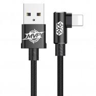 Кабель Lightning - USB 90 градусов, длина 100см черный, BASEUS