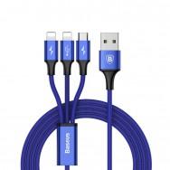 Кабель Baseus 3 in 1 Rapid Series USB - microUSB/2xLightning (CAMLL-SU) 1.2 м (синий)