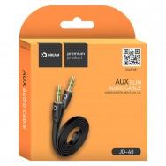 Провод плоский AUX (3.5mm) - AUX (3.5mm) длинной 100см черный Dream JD-40