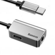 Переходник Baseus USB Type-C - USB Type-C/jack 3.5mm (L40) 0.12м - Серебро