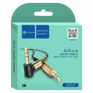 Кабель угловой AUX (3.5mm) - AUX (3.5mm) длинной 200см черный Dream JD237