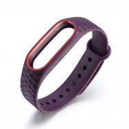 Браслет для Mi Band 2 ROMB фиолетовый c красным кантом