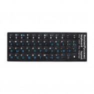 Наклейки черные на клавиатуру РУС синий шрифт
