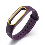 Браслет для Mi Band 2 ROMB фиолетовый c желтым кантом